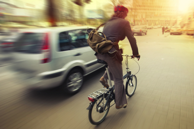 in de stad fietsen